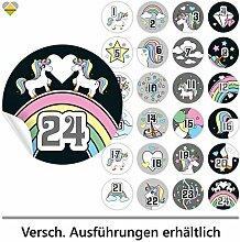 24 Adventskalender-Zahlen | Selbstklebend | Einhorn / Unicorn | Rund | XL » Ø 85 mm | Multicolor-D | FB0107-26 | Die ideale Ergänzung zu DIY Adventskalender zum selbst Befüllen und Gestalten | Aufkleber / Etiketten / Sticker von Cute-Head » CuteLove & Head-Bea