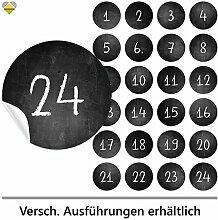 24 Adventskalender-Zahlen | Selbstklebend | Kreidetafel / Schultafel Look | 1 bis 24 (Kreide) | Rund | XL » Ø 85 mm | Schwarze Kreidetafel | FB0075-02 | Die ideale Ergänzung zu DIY Adventskalender zum selbst Befüllen und Gestalten | Aufkleber / Etiketten / Sticker von Cute-Head » CuteLove & Head-Bea
