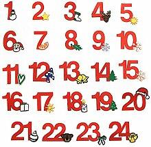 24 Adventskalender Zahlen zum Aufbügeln,