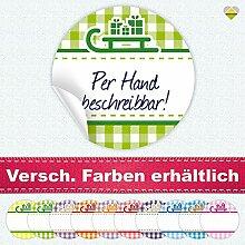 24 Aufkleber / Etiketten / Sticker | Landhausstil Kariert Schlitten mit Geschenke | Rund | Ø 40 mm | Blanko | Hellgrün / Grün | F00099-02 | CuteLove & Head-Bea