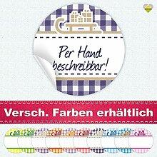 24 Aufkleber / Etiketten / Sticker | Landhausstil Kariert Schlitten mit Geschenke | Rund | Ø 40 mm | Blanko | Dunkellila / Beige | F00099-07 | CuteLove & Head-Bea