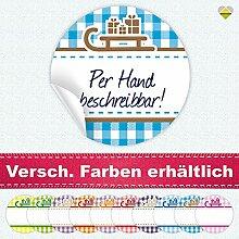 24 Aufkleber / Etiketten / Sticker | Landhausstil Kariert Schlitten mit Geschenke | Rund | Ø 40 mm | Blanko | Cyan / Braun | F00099-09 | CuteLove & Head-Bea