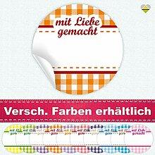 24 Aufkleber / Etiketten / Sticker | Landhausstil Kariert Spruch – mit Liebe gemacht | Rund | Ø 40 mm | Orange/Rot | F00041-04 | Ohne Beschriftung! | CuteLove & Head-Bea