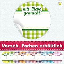 24 Aufkleber / Etiketten / Sticker | Landhausstil Kariert Spruch – mit Liebe gemacht | Rund | Ø 40 mm | Hellgrün/Grün | F00041-02 | Ohne Beschriftung! | CuteLove & Head-Bea