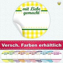 24 Aufkleber / Etiketten / Sticker | Landhausstil Kariert Spruch – mit Liebe gemacht | Rund | Ø 40 mm | Gelb/Grün | F00041-01 | Ohne Beschriftung! | CuteLove & Head-Bea