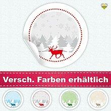 24 Aufkleber / Etiketten / Sticker | Winterlandschaft mit Rentier | Rund | Ø 40 mm | Rot | F00014-02 | CuteLove & Head-Bea
