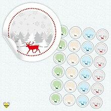 24 Aufkleber / Etiketten / Sticker | Winterlandschaft mit Rentier | Rund | Ø 40 mm | Multicolor | F00025-00 | CuteLove & Head-Bea