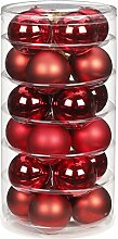24 Christbaumkugeln GLAS 6cm // Weihnachtskugeln Baumkugeln Baumschmuck Weihnachtsdeko Kugeln Glaskugeln Dose, Farbe:Ruby Red ( bordeaux - rot )