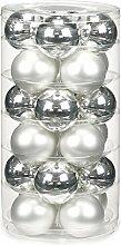 24 Christbaumkugeln GLAS 6cm // Weihnachtskugeln Baumkugeln Baumschmuck Weihnachtsdeko Kugeln Glaskugeln Dose, Farbe:Silber glanz / weiß ma