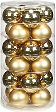 24 Christbaumkugeln GLAS 6cm // Weihnachtskugeln Baumkugeln Baumschmuck Weihnachtsdeko Kugeln Glaskugeln Dose, Farbe:Brokat Gold glanz ma