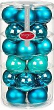 24 Christbaumkugeln GLAS 6cm // Weihnachtskugeln Baumkugeln Baumschmuck Weihnachtsdeko Kugeln Glaskugeln Dose, Farbe:Dazzling Club ( türkis )