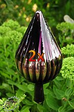 24 cm Gross Gartenkugel in Zapfenform violett