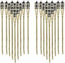 24 Fackeln Gartenfackeln Bambus 120 cm Holzfarben