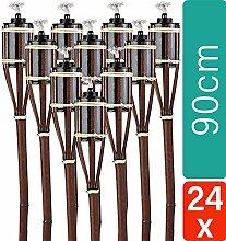 24 Gartenfackel Bambusfackel 90 cm Set Mahagoni
