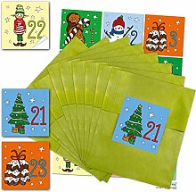 24 grüne Papiertüten Adventskalender-Tüten zum