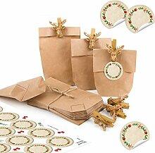24 kleine braune Mini Papiertüten Verpackung 15 x