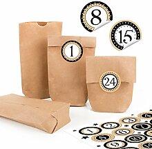 24 kleine braune Papiertüten natur Kraftpapier 9