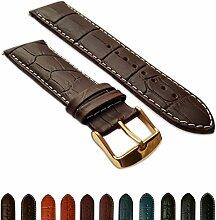 24mm Uhrenarmband braun & weiß echtem Leder