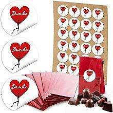 24 rote Gastgeschenk-Tüten für kleine Geschenke