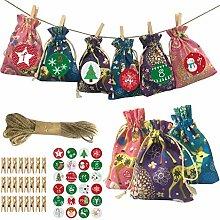 24 Stück Adventskalender Geschenktüten