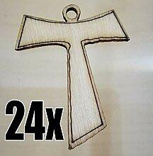 24Stück Deko Holz Kreuz TAO Bonboniere Kommunion