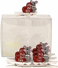 24 Stück Dekoklammer Maus mit Herz und Aufschrift Hab Dich lieb Klammer Alle Anlässe