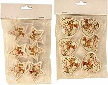 24 Stück Dekoklammer Stern und Herz Form mit Hirsch Motiv Ø 5,5 cm bis 6 cm Christmas