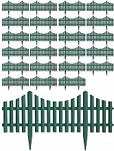 24 Stück Gartenzaun Zierzaun Beeteinfassung Beetabgrenzung Lattenzaun Dekozaun Kunststoffzaun Grün 60,5x33cm Beetumrandung Zaun