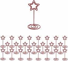 24 Stück Rote Sternförmige Tischkartenhalter