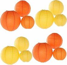 4 rote Lampions original aus China  40 cm für drinnen und draussen Drache