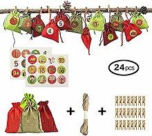 24 Stück Weihnachten Adventskalender