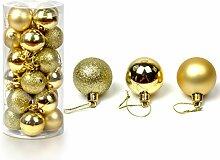 24 Stück Weihnachtskugeln Glänzend Glitzernd