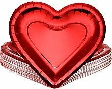 24 Stücke Dicke Herzförmige Pappteller