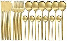 24 stücke Geschirr Setlery Set Schwarz Gold Gabel