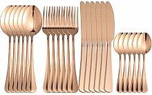 24 stücke Gold Edelstahl Besteck Geschirr Set