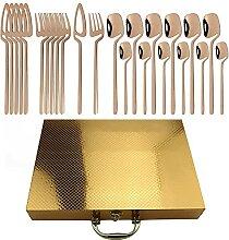 24 stücke Gold Geschirr Set 18/10 Edelstahl