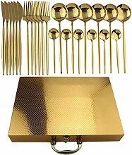 24 stücke Gold Geschirr Set 304 Edelstahl Rainbow