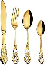 24 teile/los Geschirr Set Gold Besteckgabel 304