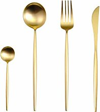 24 teile/satz 304 Edelstahl Black Gold Besteck Set