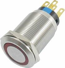 24V rote Lampe Self SPDT Kontakt Edelstahl Push