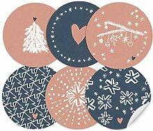 24 weihnachtliche Aufkleber im Handlettering Stil,