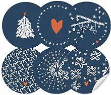 24 Weihnachtsdeko Aufkleber Blau Weiß im