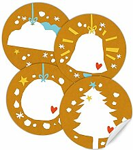 24 Weihnachtsdeko Aufkleber GELB - gemischte
