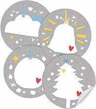24 Weihnachtsdeko Aufkleber GRAU, gemischte