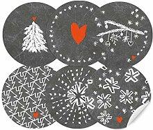 24 Weihnachtsdeko Aufkleber Grau Weiß im