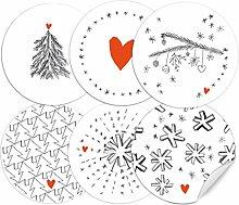 24 Weihnachtsdeko-Aufkleber Grau Weiß Rot im