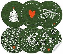 24 Weihnachtsdeko Aufkleber Grün Weiß im