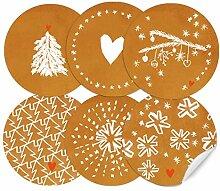 24 Weihnachtsdeko Aufkleber Kupfer Weiß im