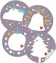 24 Weihnachtsdeko Aufkleber LILA - gemischte