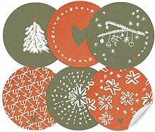 24 Weihnachtsdeko-Aufkleber Rot Grün im